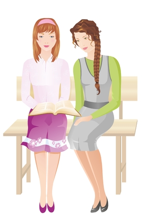 believer: Two christian girls with Bible sitting on the bench. Vector illustration Illustration