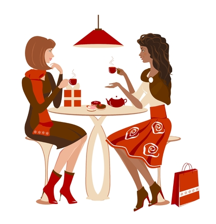 sidewalk talk: Two girls at a cafe talking and looking on each other. Christmas winter meeting. Vector