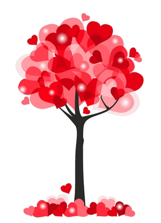Red hearts tree background. Valentine theme. Vector Illustration