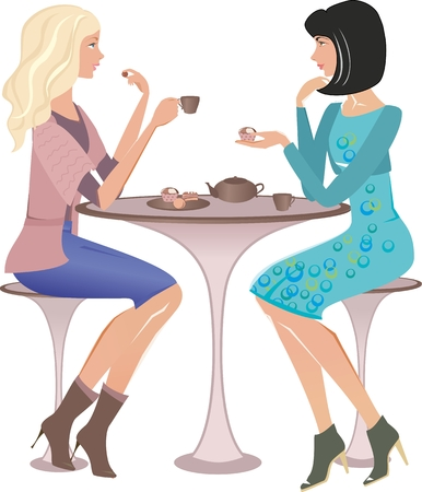 Two fashion girls at a cafe talking and looking on each other. Vector illustration Stockfoto