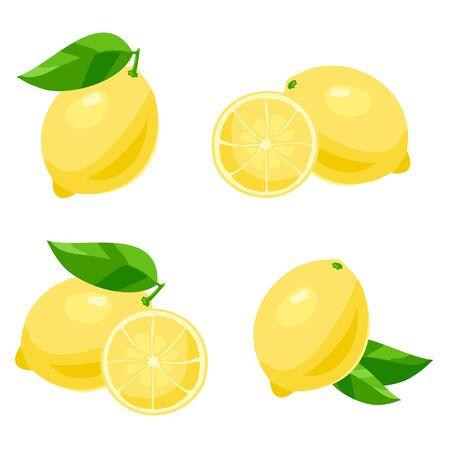 sliced: Set of of lemon with leaves. Isolated on white Illustration