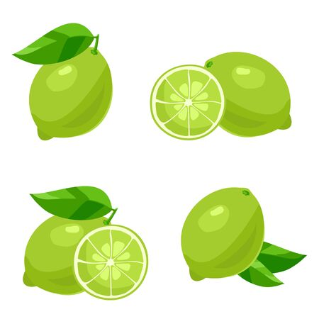 Set of of lime with leaves. Isolated on white
