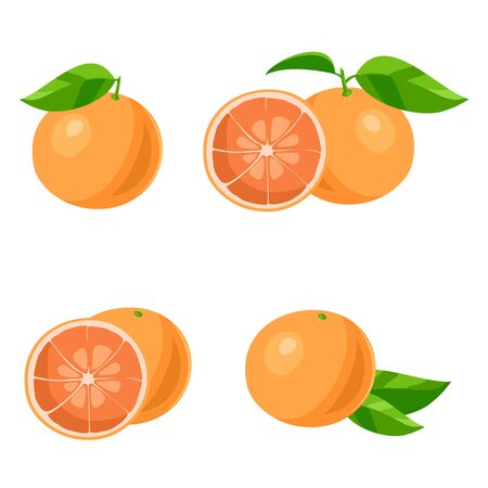 grapefruits: Set of of grapefruits with leaves. Isolated on white