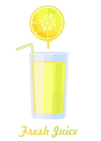 Frischer Zitronensaft im Glas. Isoliert auf weiß. Vektor-Illustration Vektorgrafik
