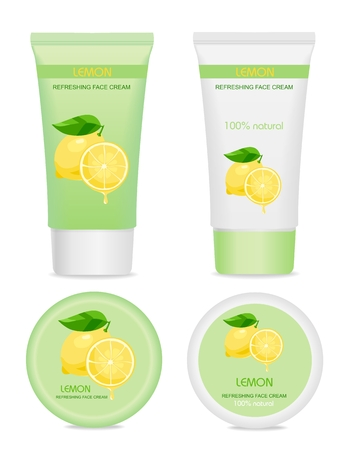 Lemon collection. Green and white tubes isolated on white. Fresh design. vector