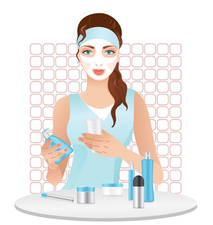 Nice girl with a cosmetic mask on her face, isolated on white. Vector illustration Stock Illustratie