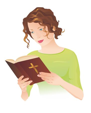 santa biblia: Young woman holding the Holy Bible and reading it.