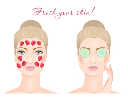 sexual pleasure: Two girl with a cosmetic mask on their face, cucumber and strawberry. Isolated on white. Vector illustration