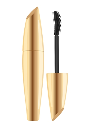Gold lash mascara tube with brush. Vector illustration