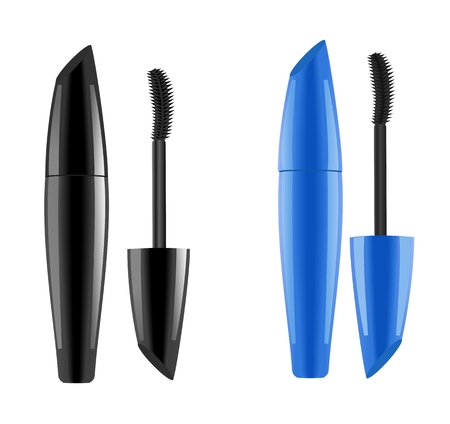 Black and blue lash mascara tubes with brush. Vector illustration