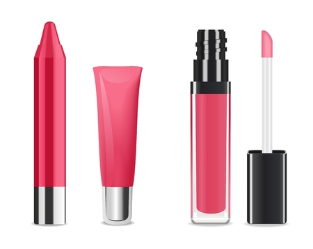 gloss: Pink lip gloss and lip stick isolated on white. Make-up set for lips. Vector illustration