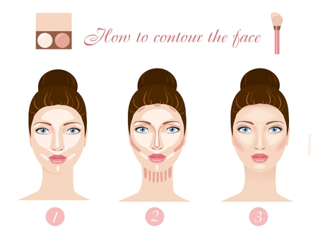 How to contour face. Three steps of professional contouring: highlight, contour and blend. Vector illustration
