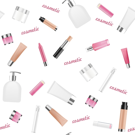 lip stick: Seamless background with different cosmetic tubes isolated on white. Vector illustration.
