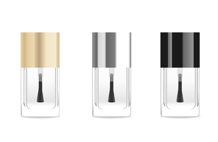 cosmetic lacquer: Transparet glass nail base tubes. Vector illustration Illustration