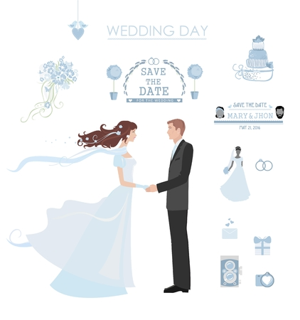 lments graphiques: Wedding vector set with graphic elements. Bride and groom in the center. Illustration