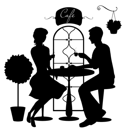 sidewalk talk: Black isolated silhouettes of boy and girl in cafe. Vector