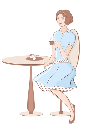 sidewalk talk: Fashion girl with coffee at cafe on white. Retro style. Vector