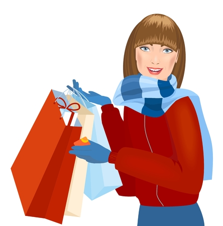 winter girl: Smiling winter girl with gift bags. Holiday sales. Vector Illustration