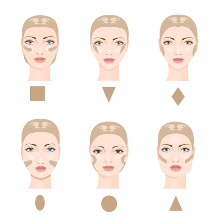 maquillage: Comment le contour du visage. Six formes de visage. Vector illustration