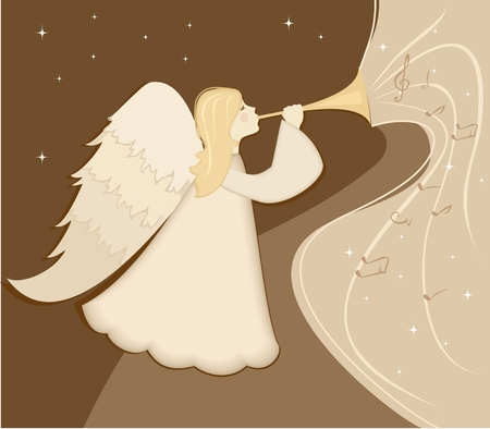Christmas angel with pipe in his hand. Vector illustration
