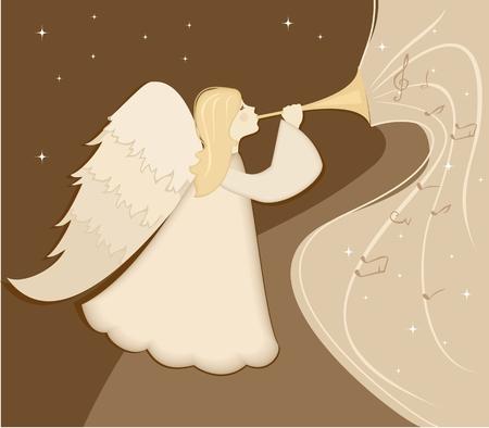 Kerst engel met een pijp in zijn hand. vector illustratie Stockfoto - 45316740