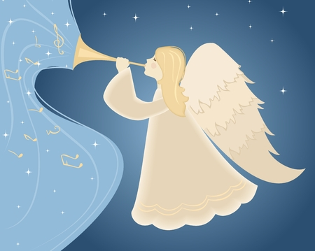 angel hair: Christmas angel with pipe in his hand. Vector illustration