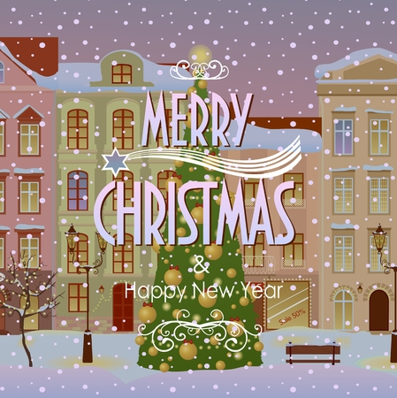 old windows: Christmas card with merry christmas text. City background. Vector illustration