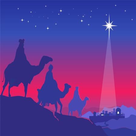 wise men: Three wise men on camels. Night scene. Vector illustration