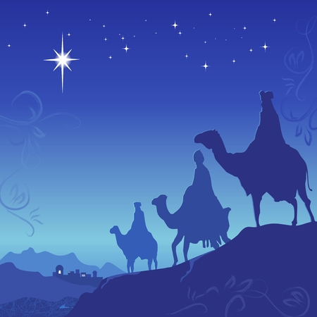 three presents: Three wise men on camels. Blue background. Vector illustration