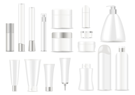 Blank cosmetic tubes  on white background. White and silver colors. Place for your text. Vector