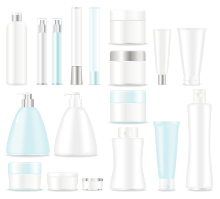 cosmetics products: Blank cosmetic tubes  on white background. Place for your text. Vector