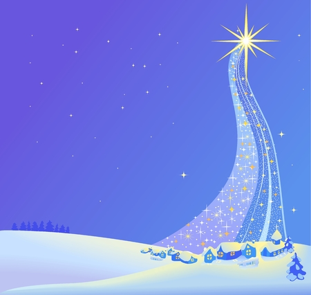 A Christmas Nativity landscape illustration of the star. Vector