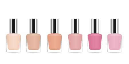 Set of glass nail polish tubes. Vector illustration Stock Illustratie