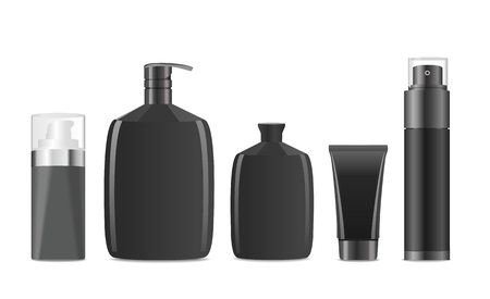 cosmetic beauty: Collection of blank black men cosmetic tubes. Vector illustration