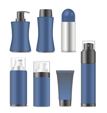 Collection of blank blue men cosmetic tubes. Vector illustration