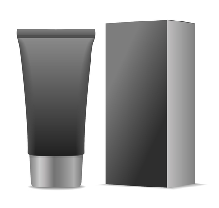black men: black men cosmetic tube and paper package. Vector illustration