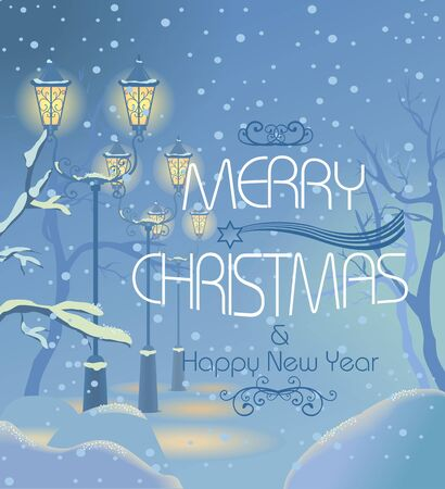 boulevard: Christmas vintage card with the lanterns at snowy street. Christmas text. Vector