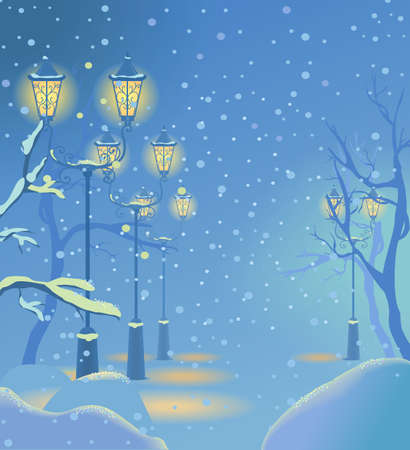 city landscape: Christmas snowy street with the lights. Vector