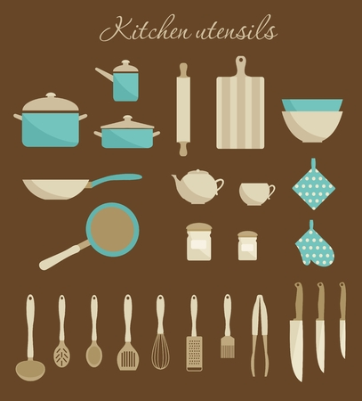 biege: Kitchen utensils icons. Flat simple design. Biege and turquoise colors. Vector illustration