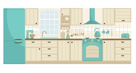 Kitchen detailed furniture. Scandinavian stile and retro design. Vector illustration