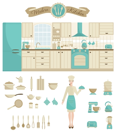 modern kitchen: Kitchen furniture. Woman cook chef and kitchen equipment icons. Scandinavian stile. Vector illustration