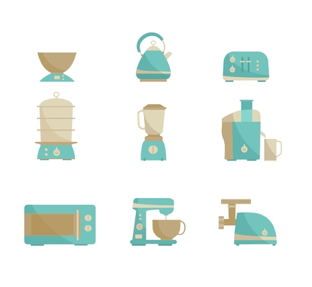 food illustration: Nine kitchen appliances set. Simple flat design. Vector illustration Stock Photo