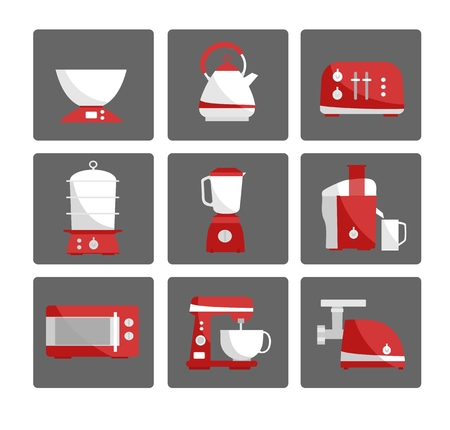 Nine kitchen appliances set. Simple flat design. White and red colors.  Vector illustration