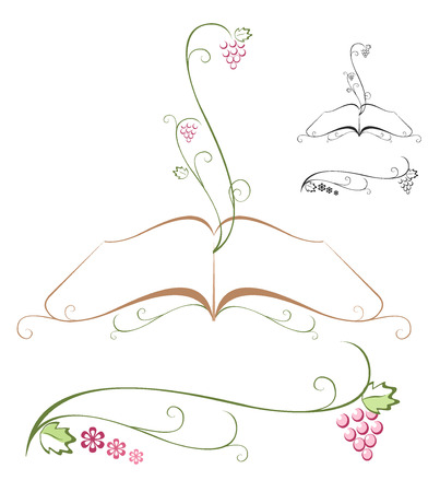 testigo: Bible with grapevine growing out of it. Vector