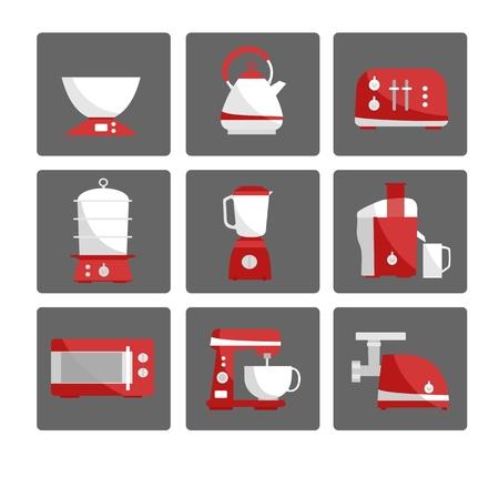 meat chopper: Nine kitchen appliances set. Simple flat design. White and red colors.  Vector illustration