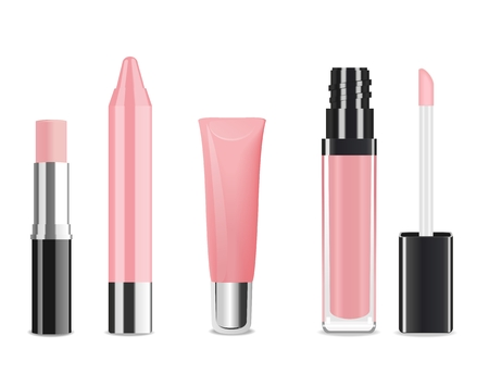 Light pink lip gloss and lip stick isolated on white. Make-up set for lips. Vector illustration Ilustração