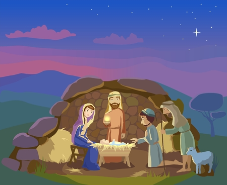 creche: Christmas. Birth of Jesus Christ in  Bethlehem. Shepherds came to worship th King.  Vector Illustration