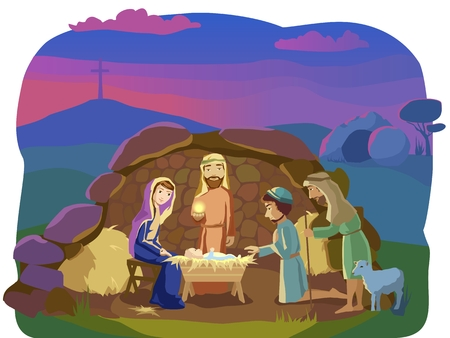 Josef, Mary and the Baby in the manger.Shepherds came to worship the King. Signs od Christ mission on Earth: opened cave and the cross. Stock Illustratie