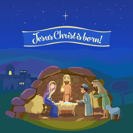 Christmas night. Birth of Jesus Christ in  Bethlehem. Josef, Mary and the Baby in the manger. Shepherds came to worship the King.