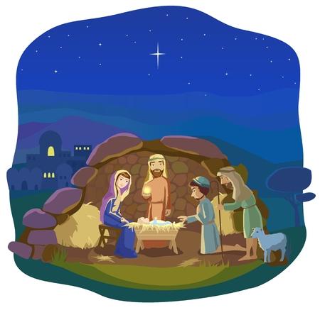 kerstnacht. Geboorte van Jezus Christus in Betlehem. Josef, Maria en de baby in de kribbe. Herders kwam tot de koning te aanbidden.